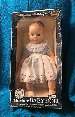 Vintage Gerber Baby 17 Inch Doll 1979 Blue & White Gingham Outfit Moving Eyes