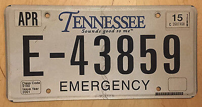 "Tennessee Emergency License Plate  "" E 43859 "" Tn Rescue Squad  911 Ambulance"