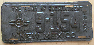 """1941 New Mexico Truck License Plate """" 9 154 """" Nm 41 Ready For Restoration"""
