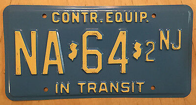 """New Jersey Construction Equipment In Transit License Plate  """" Na 64 2 Nj """" Nj"""