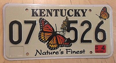 "Kentucky Natures Finest Wildlife Nature  License Plate  "" 07 526 "" Ky Butterfly"