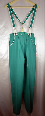 Vintage 1970's Super High Waisted Trousers / Bib & Brace Green Colour Size 8