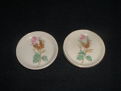 Pair Vintage Butter Pat Pats Pink Rose Bud Floral Design On White Gold Trim