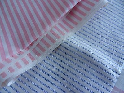 Laura Ashley Vintage Fabric 100%cotton Pink/Blue/White Stripe