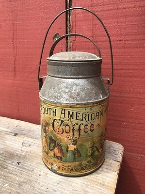Rare Swain Earle Boston Paper Label Early COFFEE ANTIQUE TIN Plantation Pail