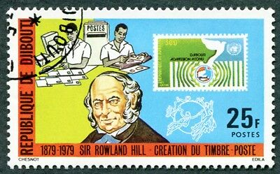 DJIBOUTI 1979 25f SG757 used NG Sir Rowland Hill Death Centenary #W29