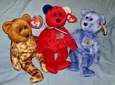 America, Peace Sign & Hero UK Ty Beanie Babys  - MWMT -FREE SHIPPING