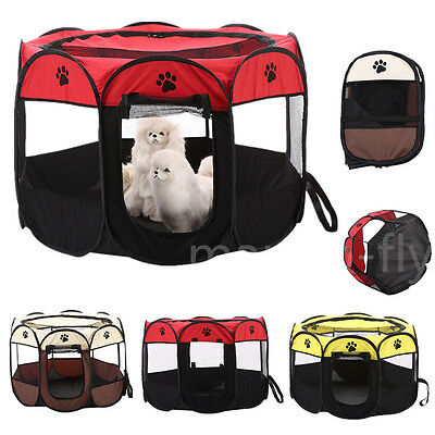Oxford Pet Dog Cat Playpen Tent Portable Fence Outdoor Kennel Cage Crate Bag