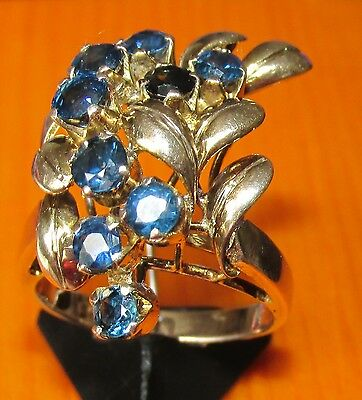 Stunning Secondhand 9Carat Yellow Gold Blue Sapphire Cluster  Ring Size L1/2