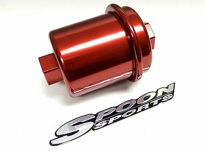 red racing high flow washable fuel filter for honda accord f22 + jdm emblem  b