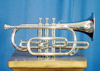 BRAND NEW SILVER Bb CORNET+FREE HARD CASE+MOUTHPIECE