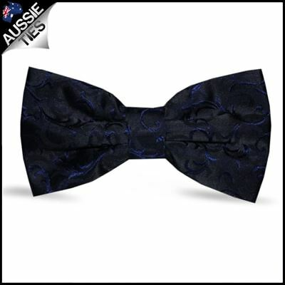 Black with Navy Blue Floral Pattern Bow Tie