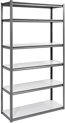 Edsal 6-Shelf Steel Storage Rack Shelving Unit Heavy Duty in Silvervein