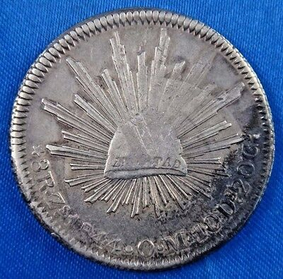 1844 Zs OM Mexico 8 Reales Silver Coin