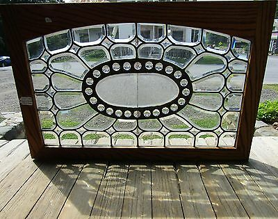 Victorian Beveled Glass Window W Glue Chip Jewel Center