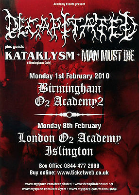 Tour Flyer for Decapitated, Kataklysm, Man Must Die. 2010.  Mint Condition