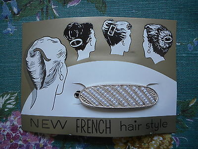 Pretty vintage fashion, 50's/60's oval hair clip, slide with faux pearls on card