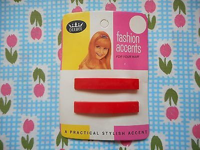 Two pretty vintage 60's fashion, kitsch plastic hair clips on card, slides, red