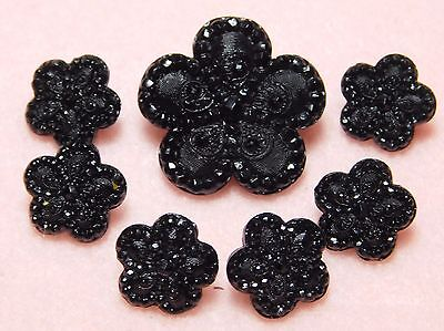Antique Victorian MOURNING Buttons Matching Set of 7 Scallop FLOWERS