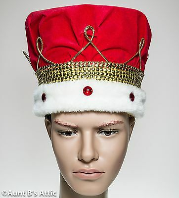 Crown Kings Red & Gold Jeweled Renaissance Royalty Regal Costume Headpiece OS