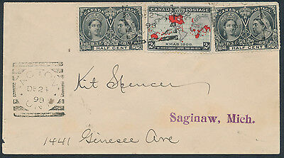 1898 Acton Ont to USA, Squared Circles, 2 x #50 1/2c Jubilee + #85 2c Map Dec 24