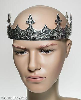 Crown Kings Silver Stamped Metal 8 Point Medieval Renaissance Royal Headpiece