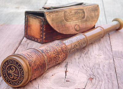 Vintage Leather Carving Antique Wrapped Brass Telescope Nautical Pirate Spyglass