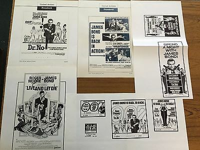 James Bond 007 Mixed Lot of Pressbook Ad Pages-Sean Connery--Sir Roger Moore Etc