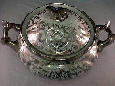 Soup Tureen & Top with Sliver Elegant Designs and Handles. Beautiful piece.
