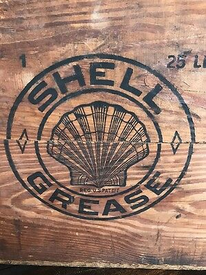 Original Shell Oil Wooden Crate Box Gas Can Early 1920's Grease Box