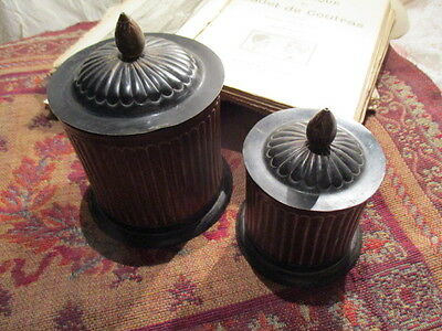 Vintage French Toleware Storage Canisters x 2