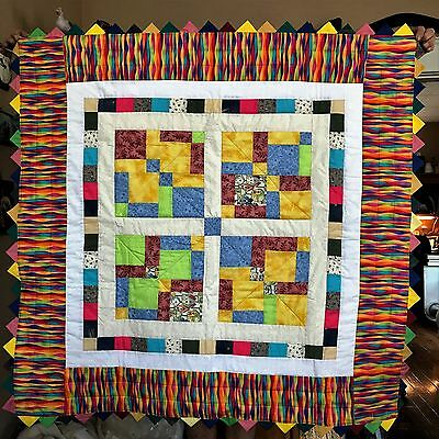 Quilt 45x46 Vibrant Rainbow of colors Handmade with Prairie Point Binding 100% N