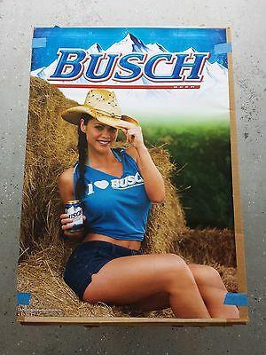 BRAND NEW Budweiser Busch Beer Hot Brunette Country Girl Poster