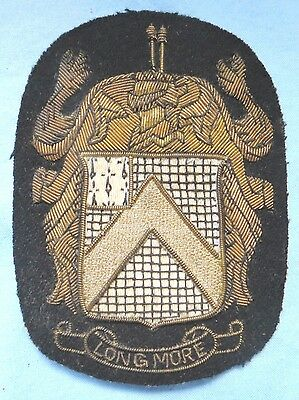 Vintage LONGMORE Coat of Arms Family Crest Patch Black with Gold Braid 3 Pins