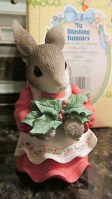 New My Blushing Bunnies Figurine:Have A Berry Happy Holly Day Enesco 386898