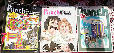 3 Vintage Punch Magazine UK Humour News Current Affairs The Press Cricket 1970s