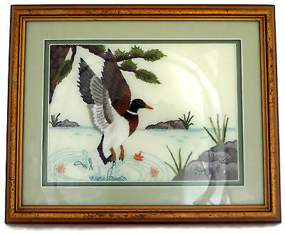 Beautiful Framed Completed Needlepoint Embroidery Mallard Duck Landing in Water
