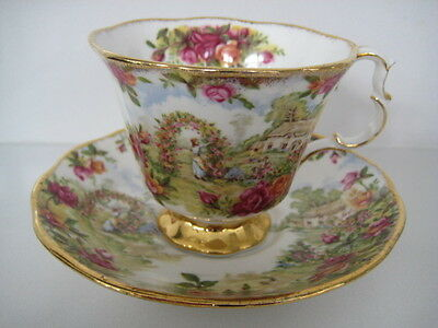 Royal Albert England Cup And Saucer Celebration Of The Old Country Roses Garden