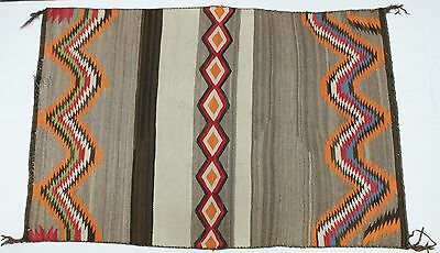 """1930's Navajo Colorful Double Saddle Blanket Serrated Bands Diamonds 55.5"""" x 37"""""""