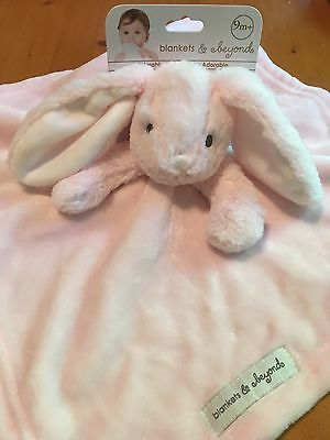 NWT Blankets & Beyond Pink And White Bunny Rabbit Security Blanket Lovey Nunu