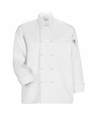 Happy Chef Coat Uniform Standard Long Sleeve French Knot Chef Coat White / Black