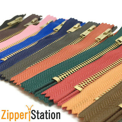 "14 cms / 5.5"" Brass Trouser Jeans Zips Zipper - Closed End - 17 zip colours"