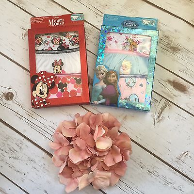 Lot of 2 Disney Toddler Girls 3 Pack Frozen/Minnie Mouse Underwear Panties 4T