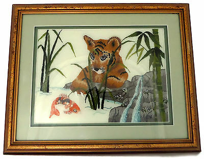 Beautiful Framed Completed Needlepoint Embroidery Tiger Cub Watching a Fish