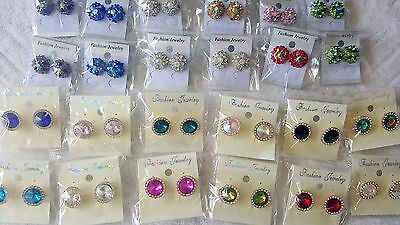 Joblot of 24 pairs Mixed color  Diamante stud Earrings - NEW Wholesale Lot 2