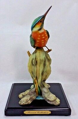 "Hummingbird Figurine On Stand from Fineart Collection 9 1/2"" Green/Blue/Orange"