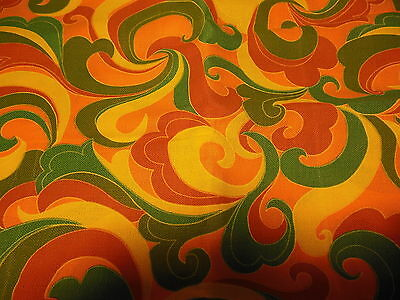 "VTG. PSYCHEDELIC FABRIC MATERIAL VIVID GROOVY GO-GO COLORS 43"" WIDE x 110"" LONG"