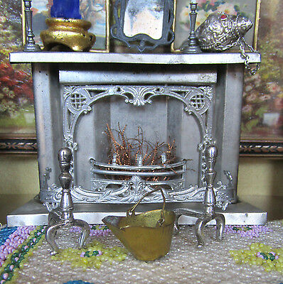 Antique Dollhouse VICTORIAN TIN FIREPLACE Miniature Metal Ornate 1800s Germany