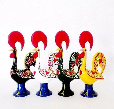 Portuguese Rooster of Luck 4 Colors Hand Painted Decor Souvenir 21 cm / 8""