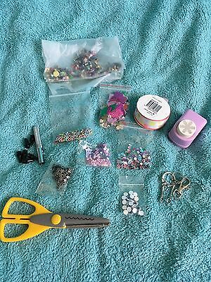 large lot of embellishments, eyelets,brads,ribbon,buttons,gems,sequins